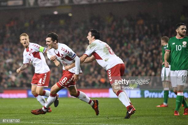 Andreas Christensen of Denmark celebrates after the 10 goal scored during the World Cup Qualifier PlayOff Second Leg match between Republic of...