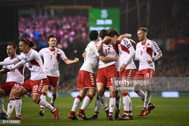 Andreas Christensen of Denmark celebrates after the 11 goal scored during the World Cup Qualifier PlayOff Second Leg match between Republic of...