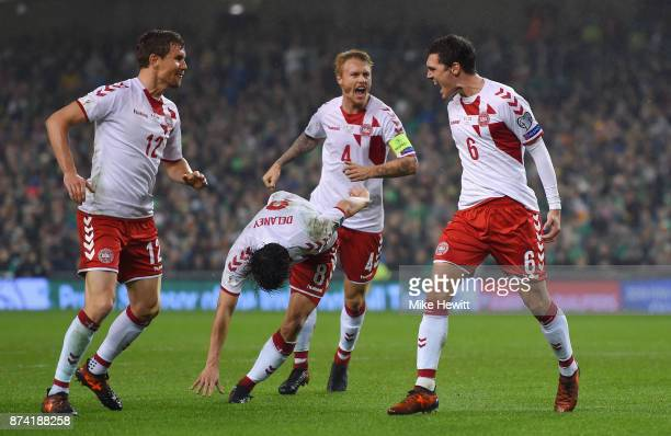 Andreas Christensen of Denmark celebrates his sides first goal as Cyrus Christie of the Republic of Ireland scores a own goal during the FIFA 2018...