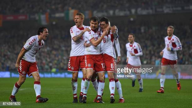 Andreas Christensen of Denmark celebrates with team mates after scoring during the FIFA 2018 World Cup Qualifier PlayOff Second Leg between Republic...