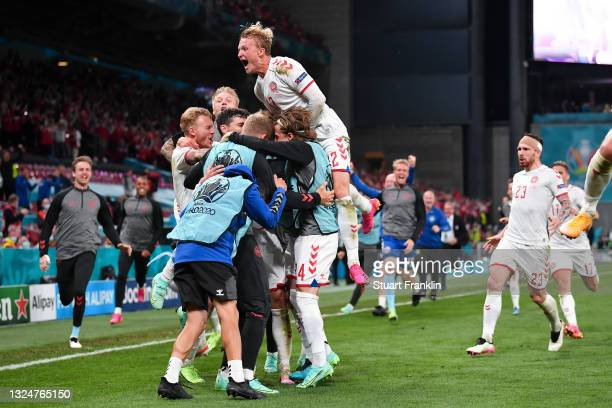 Andreas Christensen of Denmark celebrates with teammates after scoring their side's third goal during the UEFA Euro 2020 Championship Group B match...