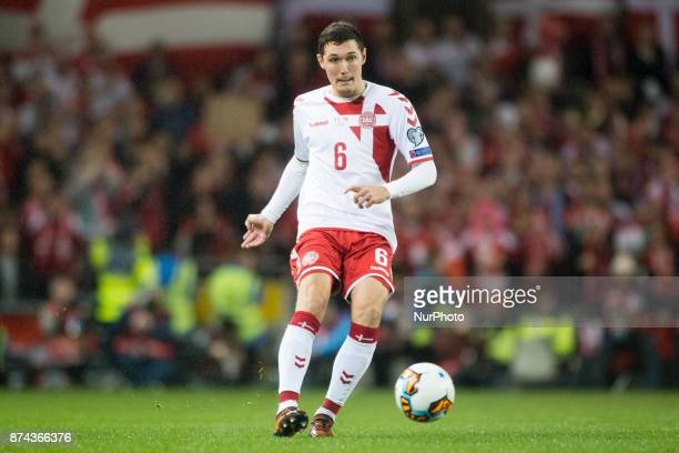 Andreas Christensen of Denmark controls the ball during the FIFA World Cup 2018 PlayOff match between Republic of Ireland and Denmark at Aviva...