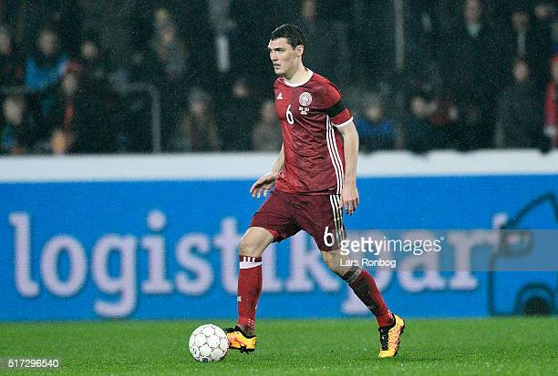 Andreas Christensen of Denmark controls the ball during the international friendly match between Denmark and Iceland at MCH Arena on March 24 2016 in...
