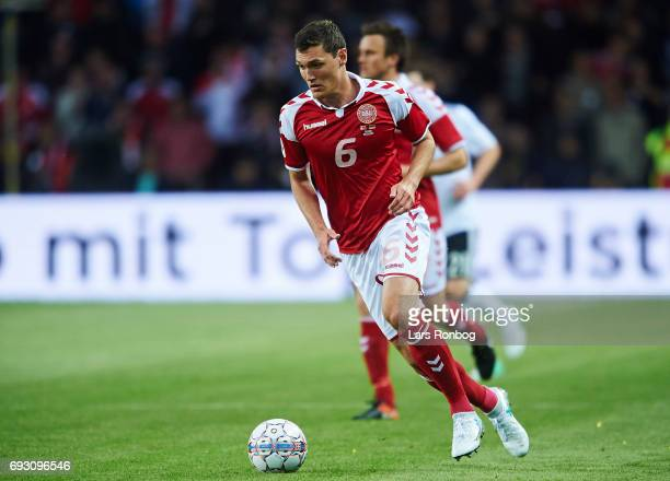 Andreas Christensen of Denmark controls the ball during the international friendly match between Denmark and Germany at Brondby Stadion on June 6...