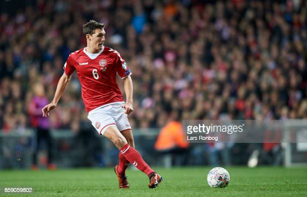 Andreas Christensen of Denmark in action during the FIFA World Cup 2018 qualifier match between Denmark and Romania at Telia Parken Stadium on...