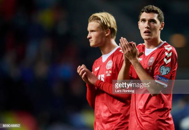 Andreas Christensen of Denmark looks dejected after the FIFA World Cup 2018 qualifier match between Denmark and Romania at Telia Parken Stadium on...