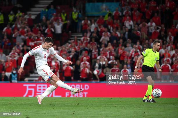 Andreas Christensen of Denmark scores their side's third goal during the UEFA Euro 2020 Championship Group B match between Russia and Denmark at...
