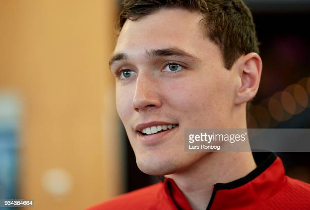 Andreas Christensen of Denmark speaking to the media during the Denmark press conference at Clarion Hotel Copenhagen Airport on March 19 2018 in...