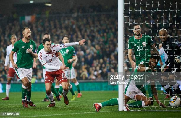 Andreas Christensen of Denmark watching Cyrus Christie of Republic of Ireland scores the 11 own goal during the FIFA 2018 World Cup Qualifier PlayOff...