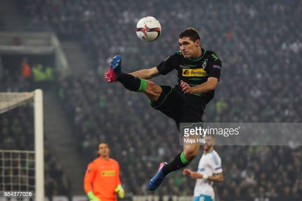 Andreas Christensen of Moenchengladbach controls the ball during the UEFA Europa League Round of 16 second leg match between Borussia...