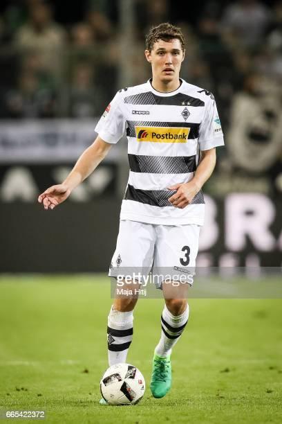 Andreas Christensen of Moenchengladbach controls the ball during the Bundesliga match between Borussia Moenchengladbach and Hertha BSC at...