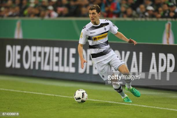 Andreas Christensen of Moenchengladbach controls the ball during the DFB Cup semi final match between Borussia Moenchengladbach and Eintracht...