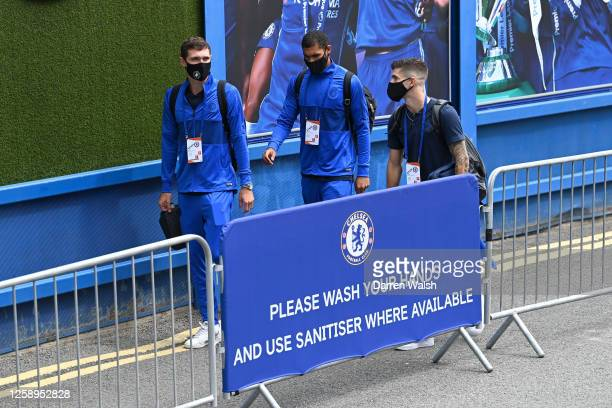 Andreas Christensen, Ruben Loftus-Cheek and Christian Pulisic of Chelsea arrive at the stadium prior to the Premier League match between Chelsea FC...