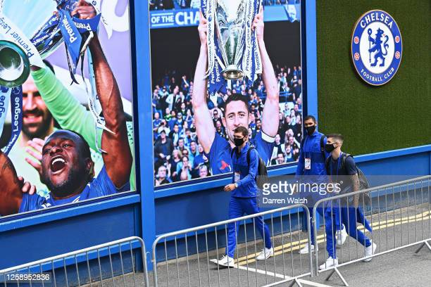 Andreas Christensen Ruben LoftusCheek and Christian Pulisic of Chelsea arrive at the stadium prior to the Premier League match between Chelsea FC and...