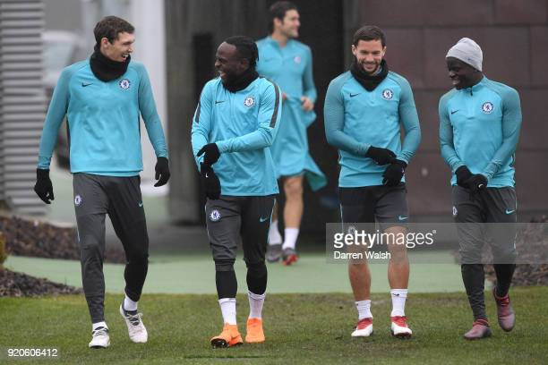 Andreas Christensen Victor Moses Danny Drinkwater and N'Golo Kante of Chelsea during a training session at Chelsea Training Ground on February 19...