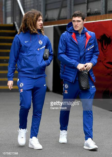 Andreas Christiansen of Chelsea and Ethan Ampadu of Chelsea arrive at the stadium prior to the Premier League match between Crystal Palace and...