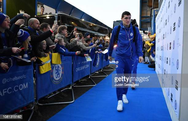 Andreas Christiansen of Chelsea arrives prior to the Premier League match between Chelsea FC and Newcastle United at Stamford Bridge on January 12...