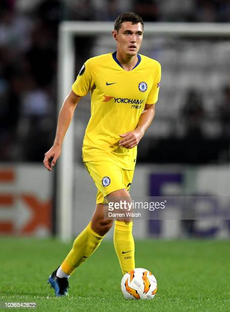 Andreas Christiansen of Chelsea controls the ball during the UEFA Europa League Group L match between PAOK and Chelsea at Toumba Stadium on September...