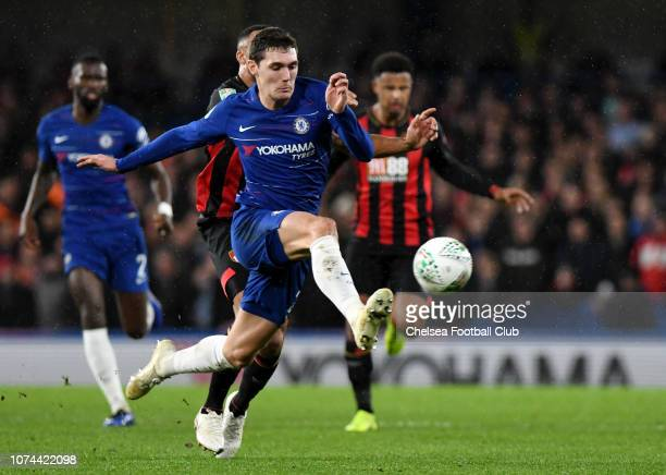 Andreas Christiansen of Chelsea stretches for the ball during the Carabao Cup Quarter Final match between Chelsea and AFC Bournemouth at Stamford...