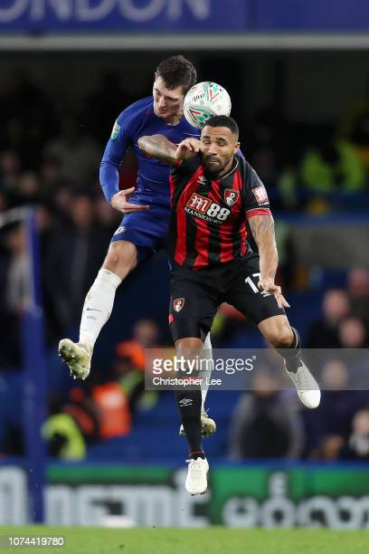Andreas Christiansen of Chelsea wins a header over Callum Wilson of AFC Bournemouth during the Carabao Cup Quarter Final match between Chelsea and...