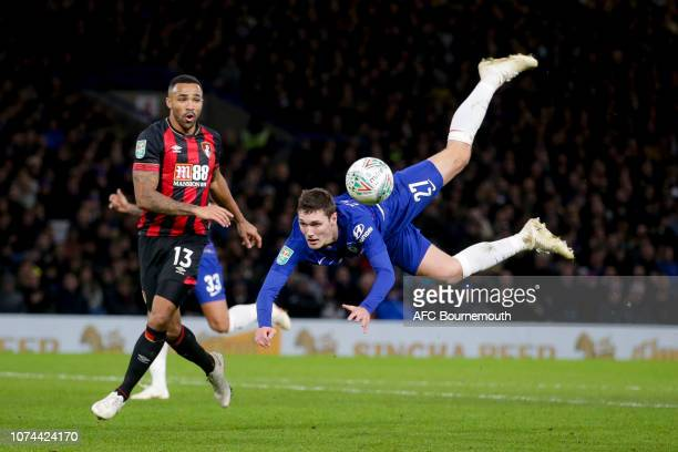 Andreas Christiensen of Chelsea clears from Joshua King of Bournemouth as he jumps in the air to reach the ball during the Carabao Cup Quarter Final...