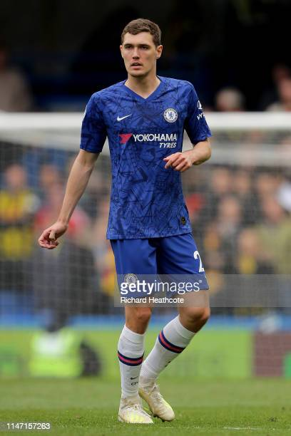 Andreas Christiensen of Chelsea in action during the Premier League match between Chelsea FC and Watford FC at Stamford Bridge on May 05, 2019 in...