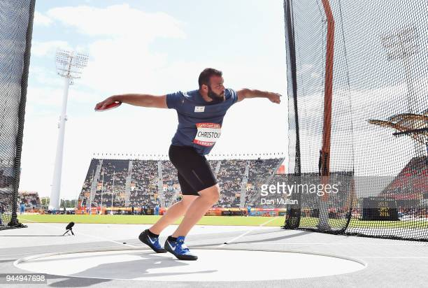 Andreas Christou of Cyprus competes in the Men's Discus qualification during athletics on day eight of the Gold Coast 2018 Commonwealth Games at...