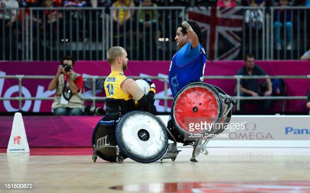 Andreas Collin of Sweden clashes with Riadh Sallem of France during the Mixed Wheelchair Rugby Open classification match between Sweden and France on...