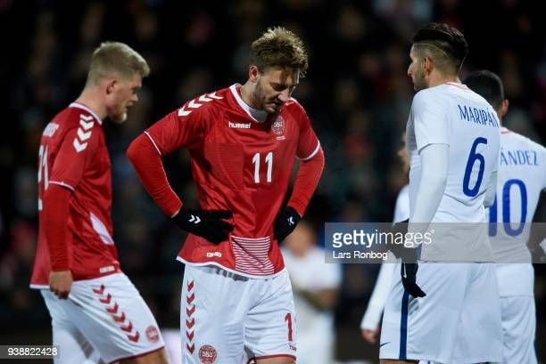 Andreas Cornelius and Nicklas Bendtner of Denmark in action during the International friendly match between Denmark and Chile at Aalborg Stadion on...