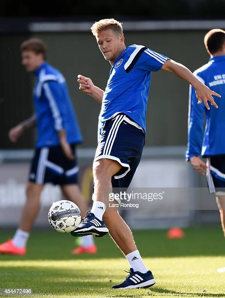 Andreas Cornelius controls the ball during the Denmark training session ahead of the International friendly match between Denmark and Turkey at...