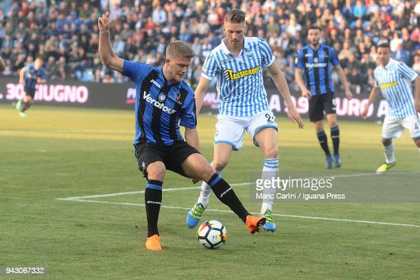 andreas Cornelius of Atalanta BC in actionduring the serie A match between Spal and Atalanta BC at Stadio Paolo Mazza on April 7 2018 in Ferrara Italy