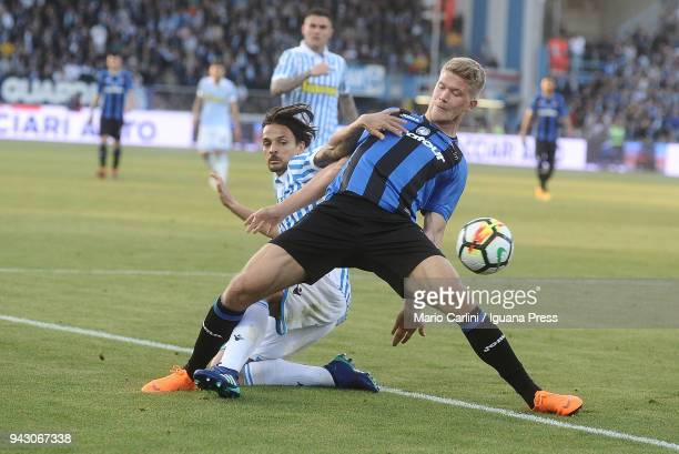 Andreas Cornelius of Atalanta BC in actionduring the serie A match between Spal and Atalanta BC at Stadio Paolo Mazza on April 7, 2018 in Ferrara,...