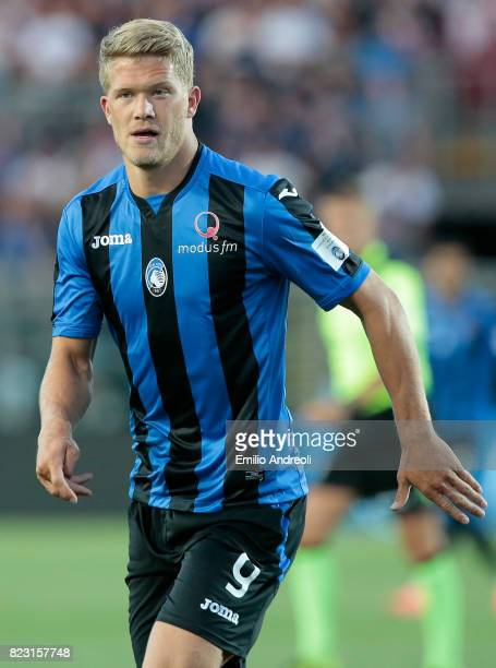 Andreas Cornelius of Atalanta BC looks on during the preseason friendly match between Atalanta BC and LOSC Lille at Stadio Atleti Azzurri d'Italia on...