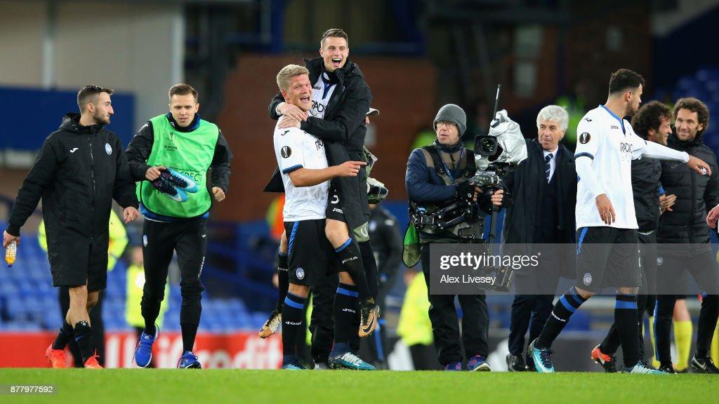 Andreas Cornelius of Atalanta celebrates with a team mate after the UEFA Europa League group E match between Everton FC and Atalanta at Goodison Park on November 23, 2017 in Liverpool, United Kingdom.