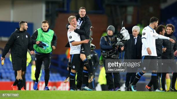 Andreas Cornelius of Atalanta celebrates with a team mate after the UEFA Europa League group E match between Everton FC and Atalanta at Goodison Park...
