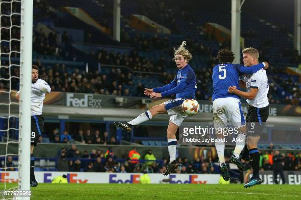 Andreas Cornelius of Atalanta scores a goal to make it 15 during the UEFA Europa League group E match between Everton FC and Atalanta at Goodison...