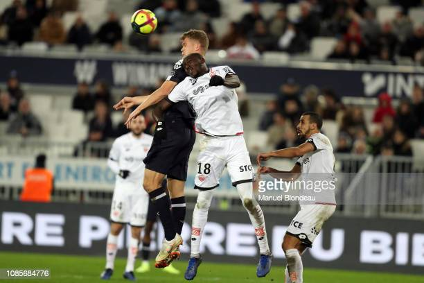 Andreas Cornelius of Bordeaux and Cedric Yambere of Dijon during the Ligue 1 match between Bordeaux and Dijon at Stade Matmut Atlantique on January...