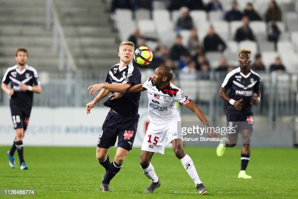 Andreas Cornelius of Bordeaux and Jeremy Sorbon of Guingamp during the Ligue 1 match between Bordeaux and Guingamp at Stade Matmut Atlantique on...