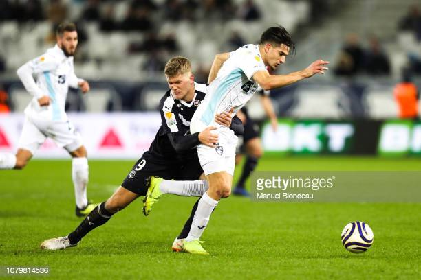 Andreas Cornelius of Bordeaux and Zinedine Ferhat of Le Havre during the French League Cup match between Bordeaux and Le Havre at Stade Matmut...