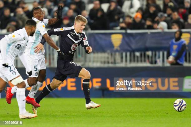 Andreas Cornelius of Bordeaux during the French League Cup match between Bordeaux and Le Havre at Stade Matmut Atlantique on January 9 2019 in...