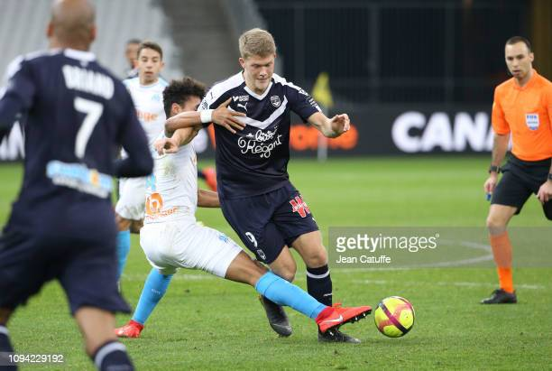 Andreas Cornelius of Bordeaux Morgan Sanson of Marseille during the French Ligue 1 match between Olympique de Marseille and Girondins de Bordeaux at...