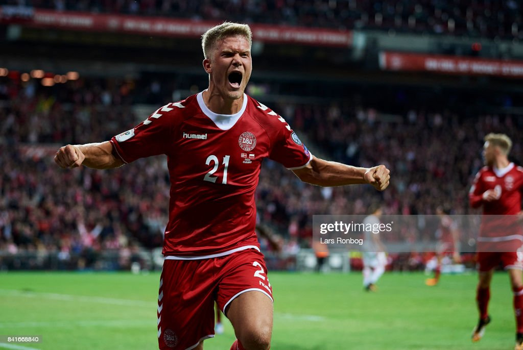 Andreas Cornelius of Denmark celebrates after scoring their second goal during the FIFA World Cup 2018 qualifier match between Denmark and Poland at Telia Parken Stadium on September 1, 2017 in Copenhagen, Denmark.