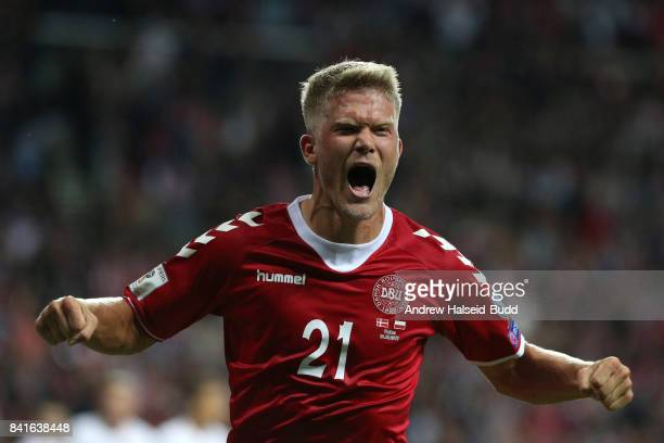Andreas Cornelius of Denmark celebrates scoring the second goal during the FIFA 2018 World Cup Qualifier between Denmark and Poland at Parken Stadion...