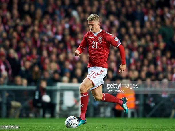 Andreas Cornelius of Denmark controls the ball during the FIFA 2018 World Cup Qualifier PlayOff First Leg match between Denmark and Republic of...
