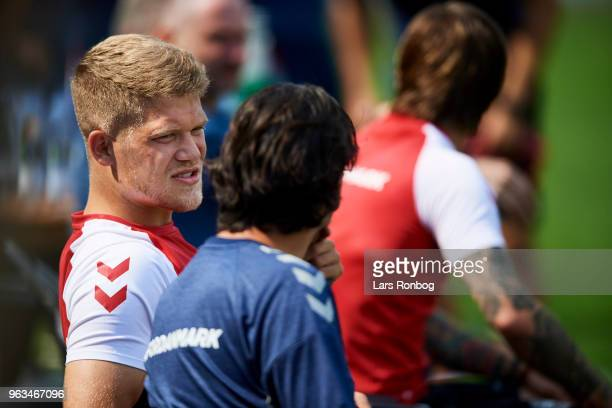 Andreas Cornelius of Denmark during the Denmark training session Helsingor Stadion on May 28 2018 in Helsingor Denmark