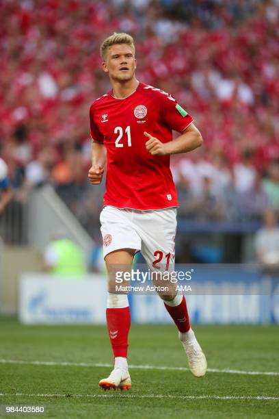 Andreas Cornelius of Denmark in action during the 2018 FIFA World Cup Russia group C match between Denmark and France at Luzhniki Stadium on June 26...