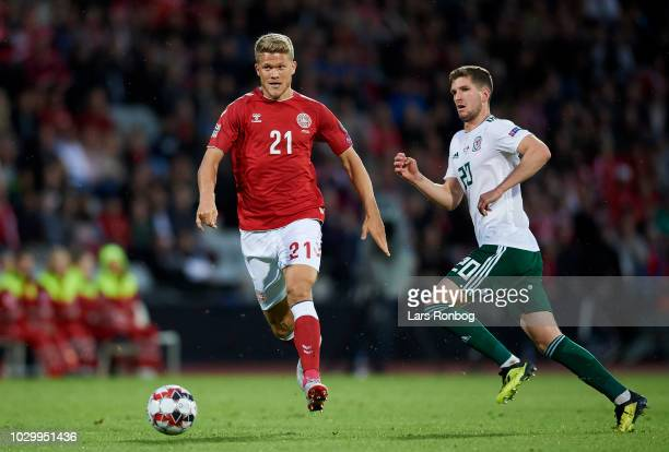 Andreas Cornelius of Denmark in action during the UEFA Nations League match between Denmark and Wales at Ceres Park on September 9 2018 in Aarhus...