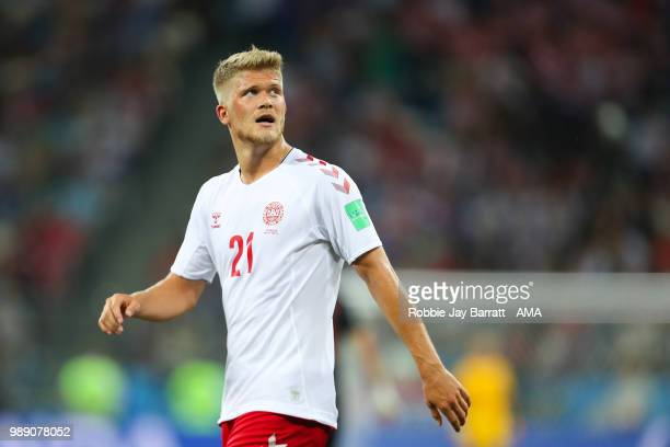 Andreas Cornelius of Denmark looks on during the 2018 FIFA World Cup Russia Round of 16 match between Croatia and Denmark at Nizhny Novgorod Stadium...