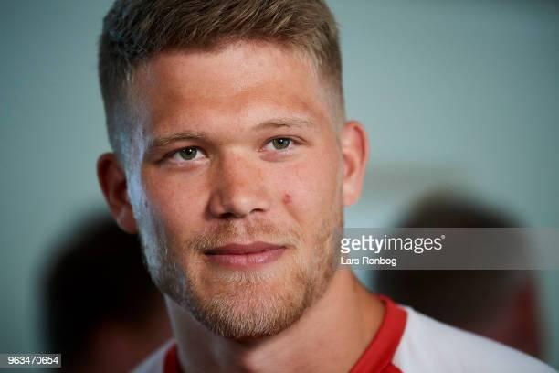 Andreas Cornelius of Denmark on the press conference prior to the Denmark training session Helsingor Stadion on May 28 2018 in Helsingor Denmark
