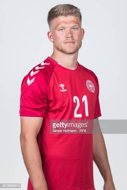 Andreas Cornelius of Denmark poses during official FIFA World Cup 2018 portrait session on June 12 2018 in Anapa Russia